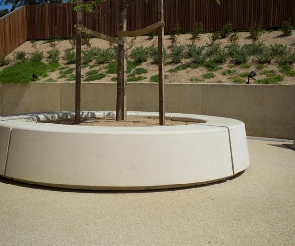 Off-white precast concrete planter